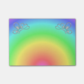 Pastel Rainbow Sunset and Silver Butterfly Profile Post-it Notes
