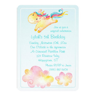 Pastel Rainbow Unicorn with Sweet Clouds Card