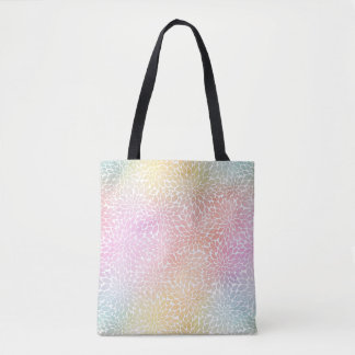 Pastel Rainbow Watercolor Dahlia Pattern Tote Bag