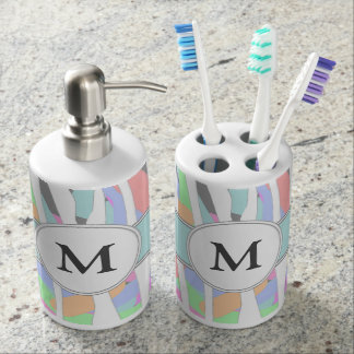 Pastel Rainbow Zebra Print Custom Monogram Soap Dispenser And Toothbrush Holder