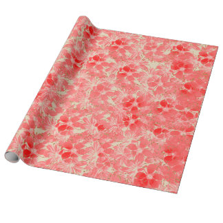 Pastel Red Flower Blossoms on Cream Wrapping Paper