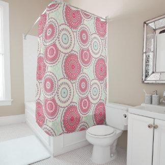 Pastel Red Ivory Blue Mandala Design Shower Curtain