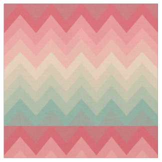 Pastel Red Pink Turquoise Ombre Chevron Pattern Fabric