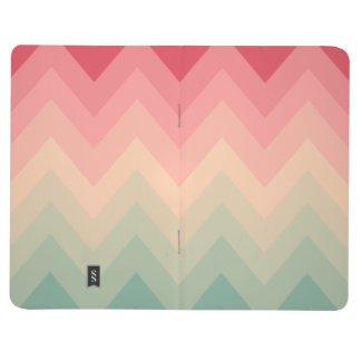 Pastel Red Pink Turquoise Ombre Chevron Pattern Journals