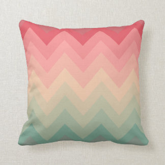 Pastel Red Pink Turquoise Ombre Chevron Pattern Throw Cushion