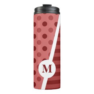 Pastel Red Polka Dots and Stripes: Monogram Thermal Tumbler