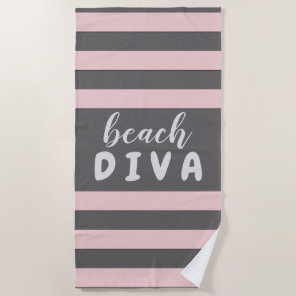 Pastel Red Stripes with Custom Text Beach DIVA Beach Towel