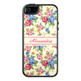 Pastel Romantic blossom Pink, Red, Blue Roses name OtterBox iPhone 5/5s/SE Case