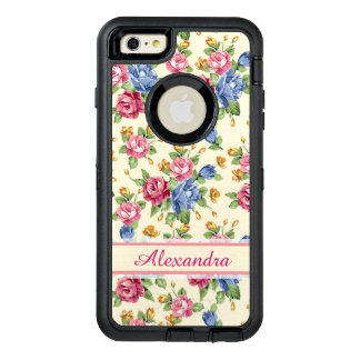 Pastel Romantic blossom Pink, Red, Blue Roses name OtterBox iPhone 6/6s Plus Case