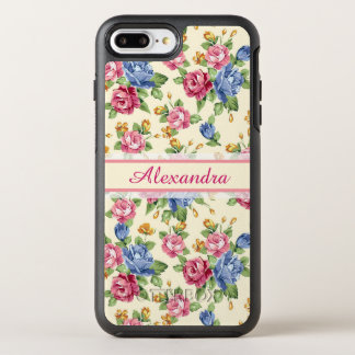Pastel Romantic blossom Pink, Red, Blue Roses name OtterBox Symmetry iPhone 8 Plus/7 Plus Case