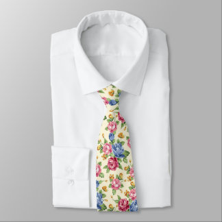 Pastel Romantic blossom Pink, Red, Blue Roses name Tie
