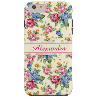 Pastel Romantic blossom Pink, Red, Blue Roses name Tough iPhone 6 Plus Case