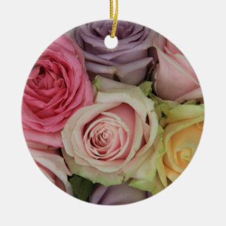 Pastel rose experience Double-Sided ceramic round christmas ornament