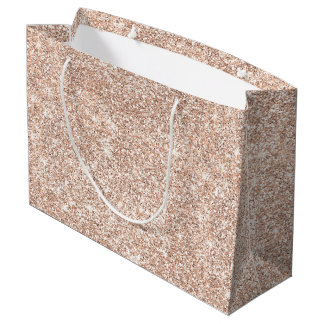 Pastel Rose Gold Glitter Stylish Large Gift Bag