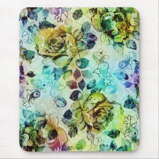 Pastel Roses & Birds Design Mouse Mat