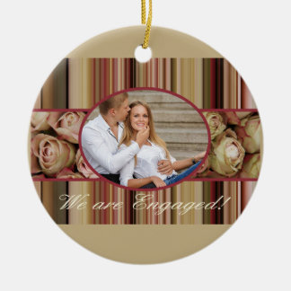 pastel roses photo engagement announcement christmas ornament