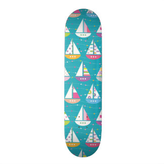 Pastel Sailboat Pattern 21.6 Cm Old School Skateboard Deck
