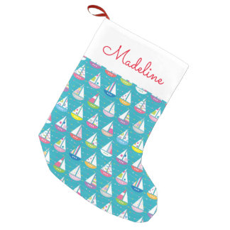 Pastel Sailboat Pattern | Add Your Name Small Christmas Stocking