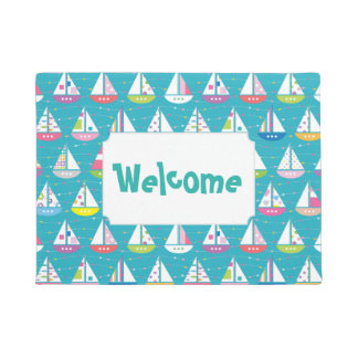 Pastel Sailboat Pattern | Add Your Text Doormat