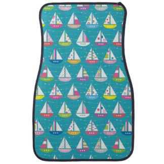 Pastel Sailboat Pattern Car Mat