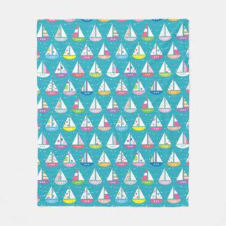 Pastel Sailboat Pattern Fleece Blanket