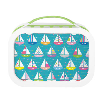 Pastel Sailboat Pattern Lunch Box