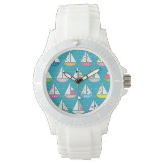 Pastel Sailboat Pattern Wristwatch