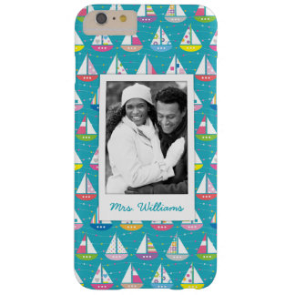 Pastel Sailboat Pattern | Your Photo & Name Barely There iPhone 6 Plus Case