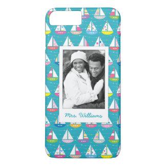 Pastel Sailboat Pattern | Your Photo & Name iPhone 8 Plus/7 Plus Case