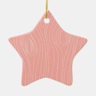 Pastel Salmon Color Wood Grain look Ceramic Star Decoration