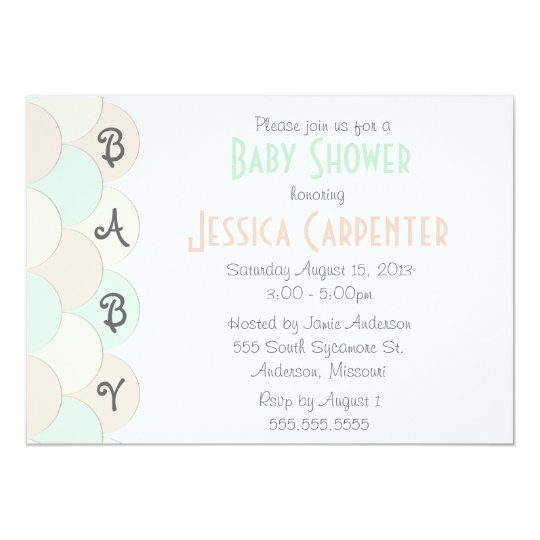 Pastel Scallops Baby Shower Invitations