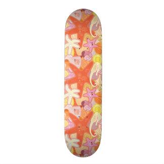 Pastel Sea Creature Pattern 19.7 Cm Skateboard Deck
