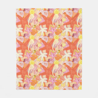 Pastel Sea Creatures Fleece Blanket