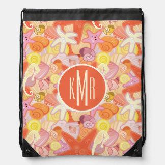 Pastel Sea Creatures | Monogram Drawstring Bag