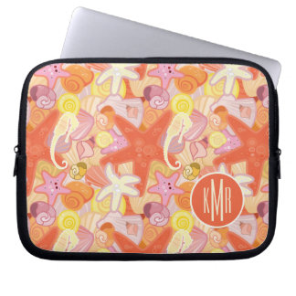 Pastel Sea Creatures | Monogram Laptop Sleeve