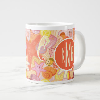 Pastel Sea Creatures | Monogram Large Coffee Mug