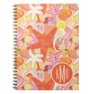 Pastel Sea Creatures   Monogram Spiral Notebook