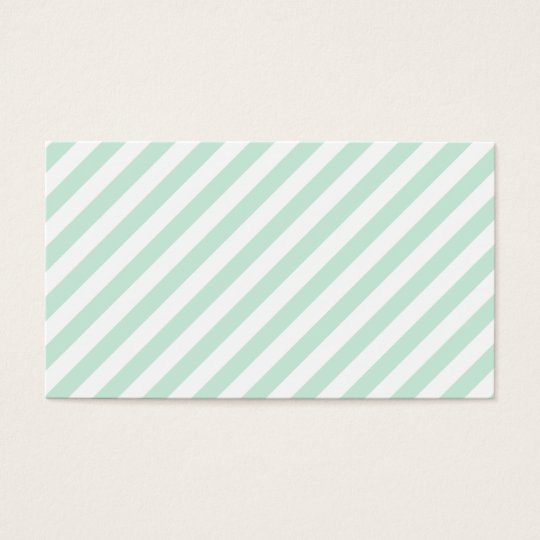 Pastel Sea Green and White Stripes. Business Card