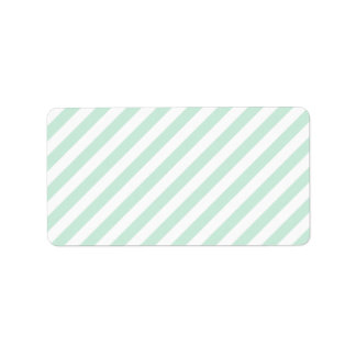 Pastel Sea Green and White Stripes. Label