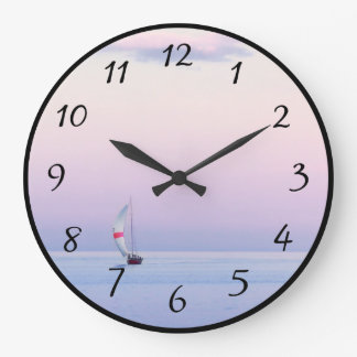 Pastel Seascape with a Sailboat Wall Clock