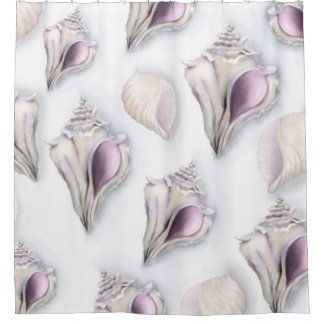 Pastel Seashell Design Shower Curtain