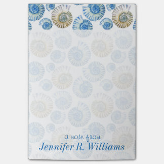 Pastel Seashell Pattern   Add Your Name Post-it Notes