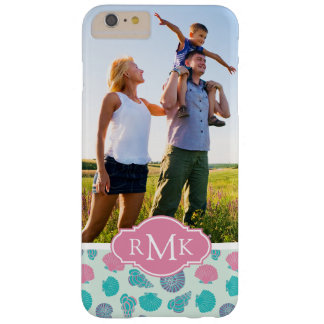 Pastel Seashell Pattern | Your Photo & Monogram Barely There iPhone 6 Plus Case