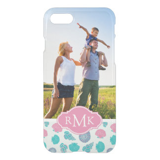 Pastel Seashell Pattern | Your Photo & Monogram iPhone 8/7 Case