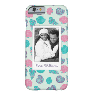 Pastel Seashell Pattern | Your Photo & Name Barely There iPhone 6 Case