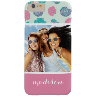 Pastel Seashell Pattern | Your Photo & Name Barely There iPhone 6 Plus Case