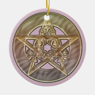 Pastel Shades Pentacle Round Ornament