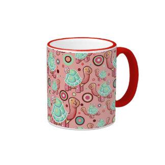 Pastel Shell Flower Tortoise Pattern Ringer Mug