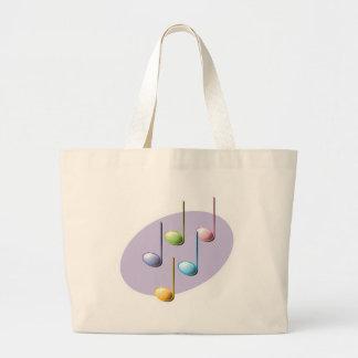 pastel shiny music notes large tote bag