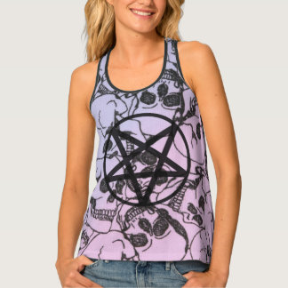 Pastel Skull and Pentagram: Racerback Tank Top